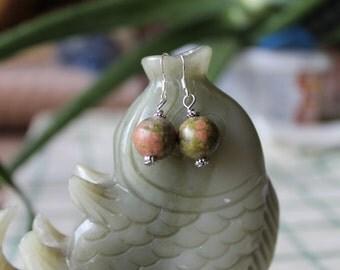Round Unakite Earrings, sterling silver hook