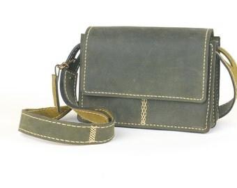 Handmade Olive-Green Leather Messenger Bag, Handstitched Leather, Crossbody Bag
