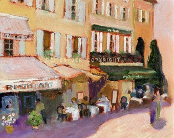 French canvas print 20x20 cafe scene, figures, paintings, France, yellow, green, lavender, village, shops, people, outdoor dining