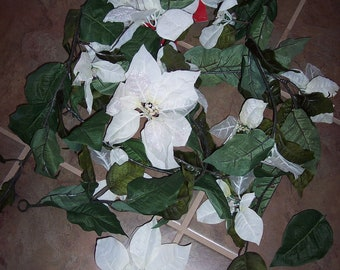set of 2 Craft poinsettia garlands,NOT perfect,6 ft ea,large white flowers,silk leaves,damaged garland for crafts,floral arrangments