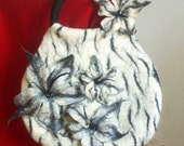 Felted Bag Brooch White Tiger  Black Lily Beads Made to Order