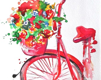 Watercolor Summer in Paris Illustration - Bicycle Art - Painting by Lana Moes - Art Print - Parisian Cityscape