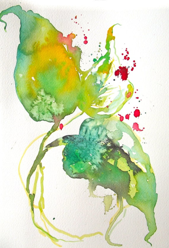 Semi Abstract Floral Original Watercolor Painting - Free shipping in US - Shabby Chic - Cottage Chic
