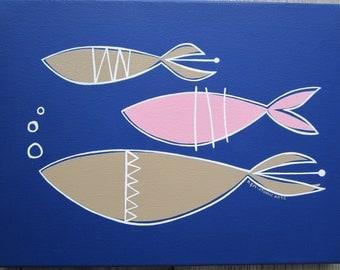 Mid century modern fish painting
