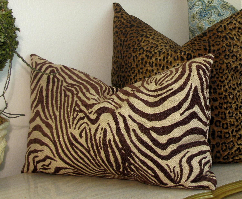 Animal Print Lumbar Pillows : Zebra Lumbar Pillow Exotic Brown