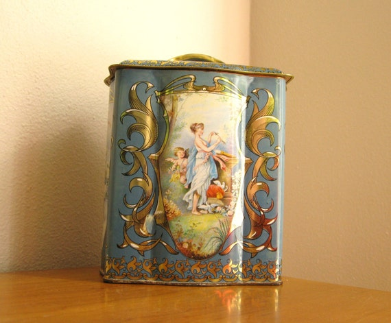 Vintage English Cookie Tin, Blue Tin with Woman and Cherub, The Tale of Eros and Psyche, Made in England