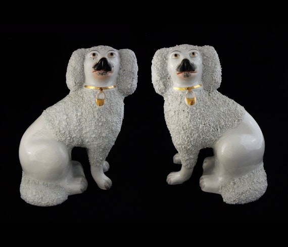 "Pair White Large 10"" Tall Staffordshire Style Poodle Dog Figurines"