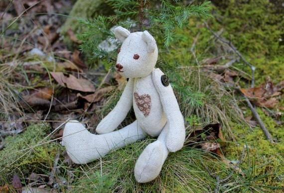Teddy Bear with Heart - Stuffed Teddy Bear - Stuffed Rag Doll - Hand Sewn Stuffed Bear - Rag Bear -Soft Fabric Toy