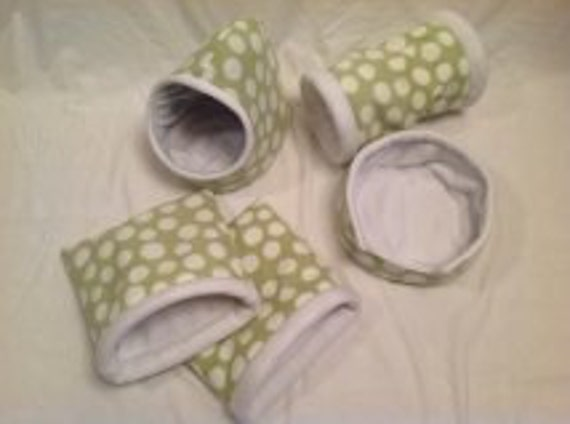 Light green polka dots Set of 5..Hidey hut, 2 cozy caves, cuddle cup and tunnel