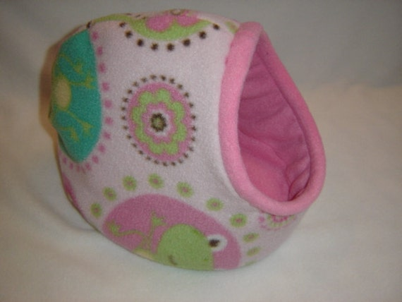 Frogs and flowers in pink Set of 3... Hidey Hut, Cozy Cave, and Tunnel