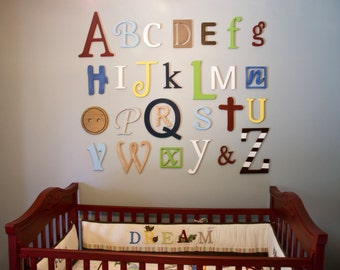 Wooden Alphabet Letters Set, Nursery Decor Wall Letters - PAINTED Wooden letters, Wall Hanging, Nursery Decor, Alphabet Wall, ABC Wall