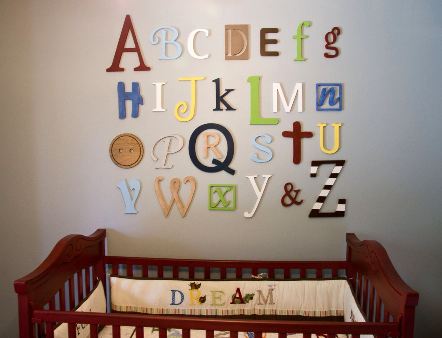 Wooden alphabet letters set painted wooden letters wall - Wood letter wall decor ...