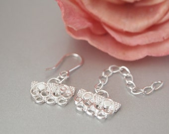 1 Set, Hook Clasp, Fancy Hook Clasp, Sterling Silver Hook Clasp, 3-Loop Hook Clasp with Extender Chain, DIY Jewelry Supplies