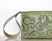 Silver patterned leather clutch , green evening purse , leather purse with wide handle , women leather handbag, small purse,