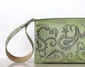 CIJ SALE Silver patterned leather clutch , green evening purse , leather purse with wide handle , women leather handbag, small purse, - Dalfia