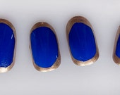 Egyptian Inspired Gold and Blue False Nails