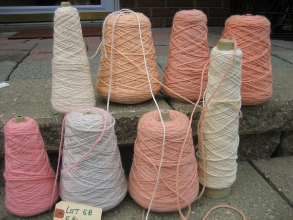Lot  5B -Plymouth Yarns -2 Ply Wool yarn on cones in peach, apricot, and natural, 5  pounds