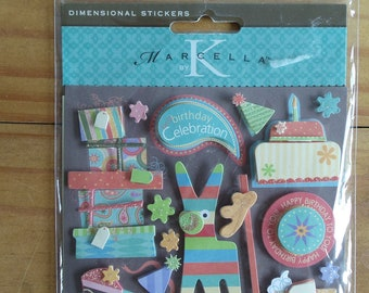 Birthday Stickers.  Fun and colorful three dimensional stickers by Marcella by K.