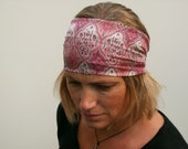 wide boho headband hairband  pink and grey gaya silk fabric