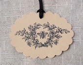 Honey Bee Tags w/ Wildflower Motif -Set of 6 Gift Tags