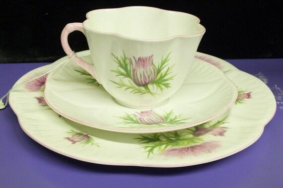 Three Piece Shelley Teacup Set (Thistle)