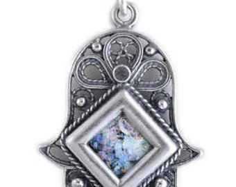 Nice 925 Sterling Silver Pendant, Ancient Roman Glass Pendant, Hamsa Pendant, Judaica, Unique Jewelry