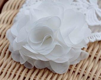 White Chiffon rosette flower, chic chiffon flower, chiffon fabric flowers, wedding decors, baby headband accessories, diy supplies