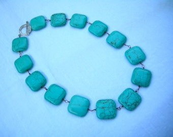 Square Chunky Magnesite Turquoise Necklace