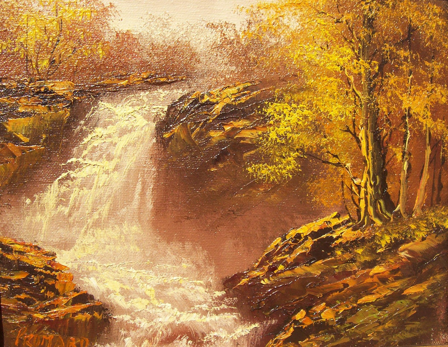 Original Oil Painting Autumn Waterfall Artist By