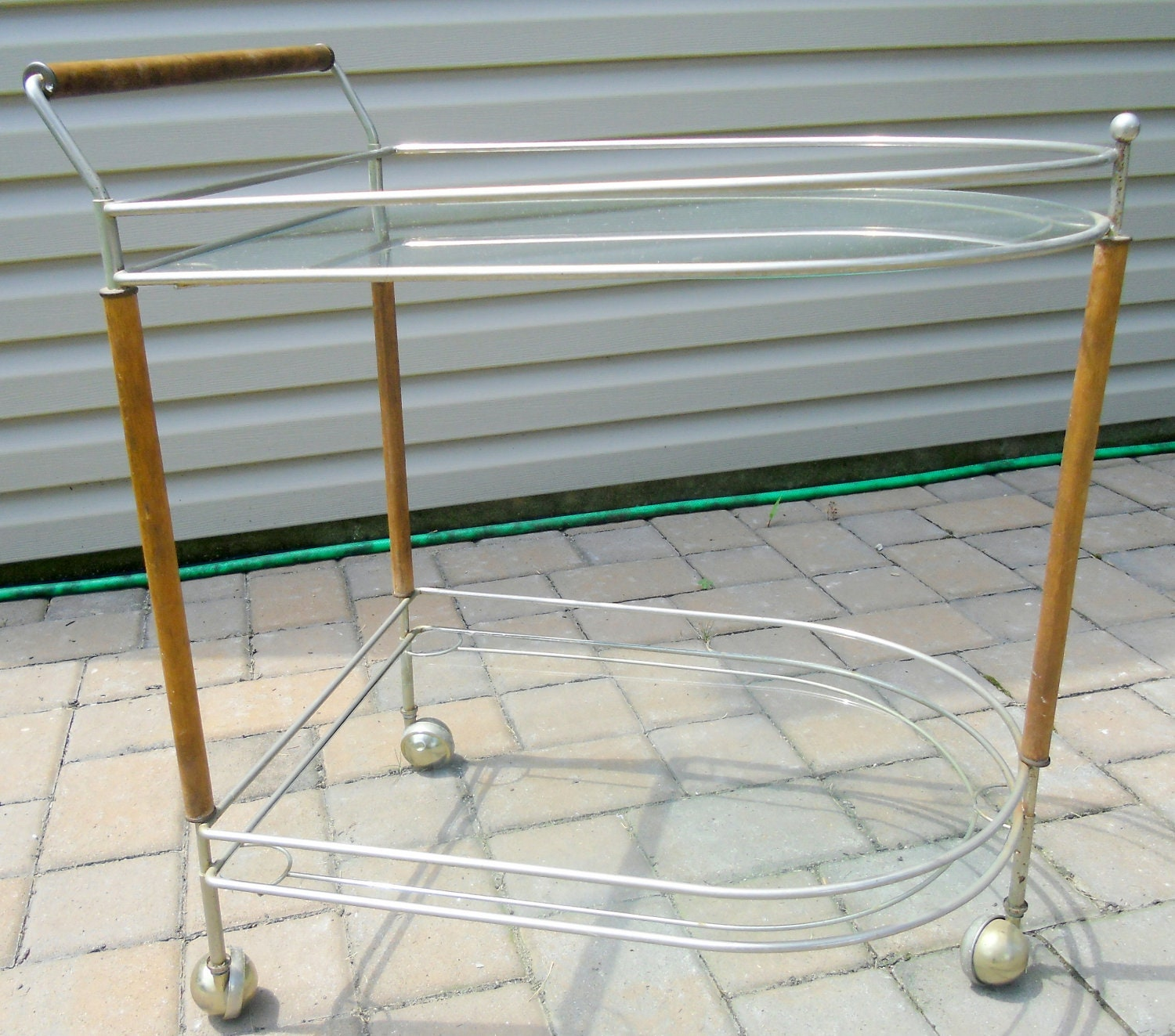SALE Mid Century Bar Cart Vintage Nickel Bar Cart by SaLvAGeThEoRy