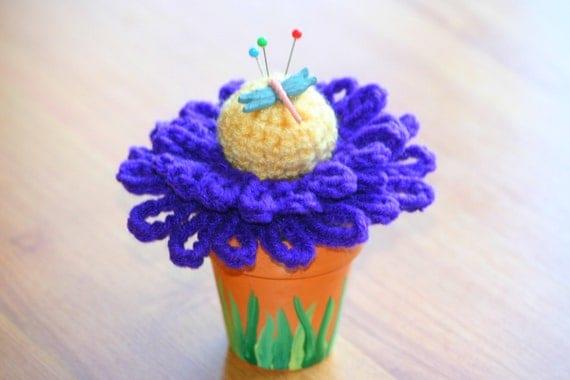 Crochet Flower Pin Cushion in Pot
