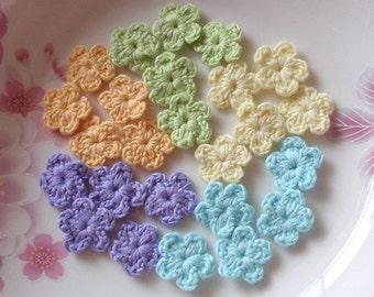25 Mini Crochet  Flowers In Lt yellow, Order Yellow, Lavender, Aqua, Lt  green YH--55-04