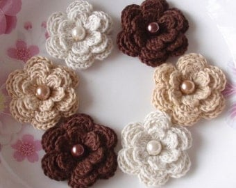 6 Crochet Flowers With Pearls In  Cream, Tan, Brown YH-011-20