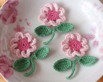 3 Crochet  Flowers With  Leaves YH - 063-08