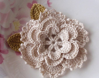 Crochet Flower With Leaves In 3-1/4inches YH-099-01