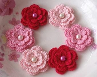 6 Crochet Flowers With Pearls In  Lt pink, Pink, Dark Pink YH-013-23