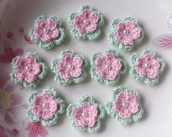 10 Crochet Flowers With Pearl In Lt Pink, Lt green YH-105-04