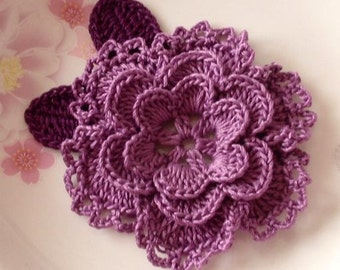 Crochet Flower With Leaves In 3-1/4 inches YH-099-07