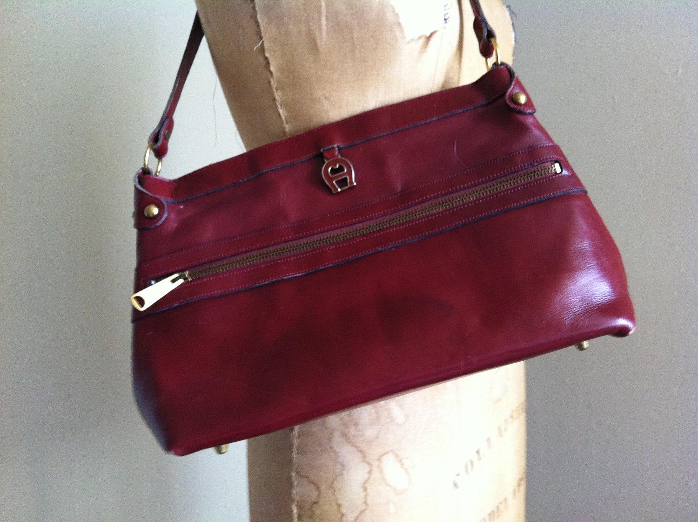 leather handbag by etienne aigner vintage
