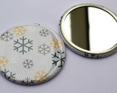 Snowflake Repeat Pocket Mirror : Aubergine, Green and Mustard.