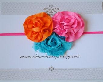 Orange Hot Pink and Blue trio, Mini Flower Trim Headband