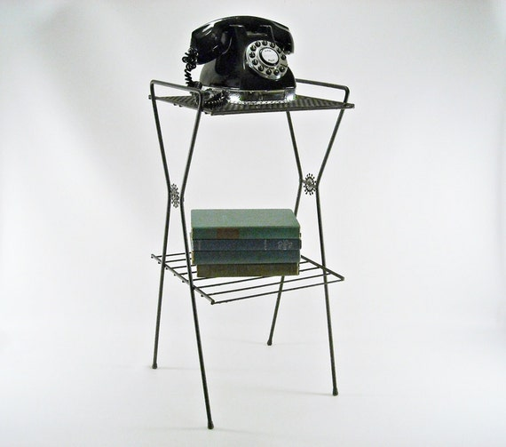 Vintage Metal Phone Table Stand Atomic 1950s By