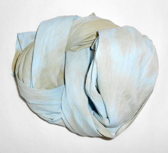Pastel Blue and Beige Cotton Scarf. Batik, hand dyed with matching Flower Brooch