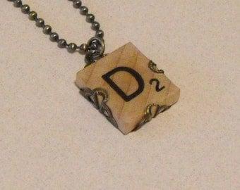 Letter D Vintage Scrabble Tile Necklace Tile Antique Brass Chain & Filigree Wrap Personalized Other Letters Too