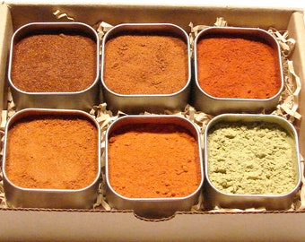 Chile Powder Sampler Gift Box- Six 4oz Tins for Heat Fanatics and the Curious