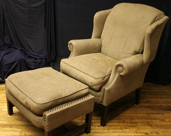 Soft Executive  Wing Back Chippendale Style Lounge Arm Chair w/Ottoman