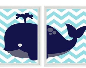 Whale Wall Art nautical sailboat anchor whale wall art print navy blue