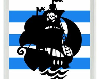 Pirate Ship Art Print - Nautical Nursery Boy Room Black Blue Stripes Wall Art Home Decor