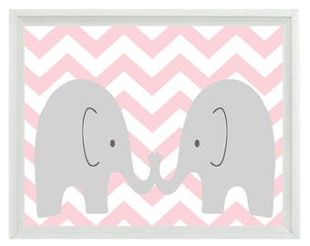Elephant Nursery Wall Art Print - Pink Gray Chevron - Children Kid Baby Girl Room - Wall Art Home Decor  Print
