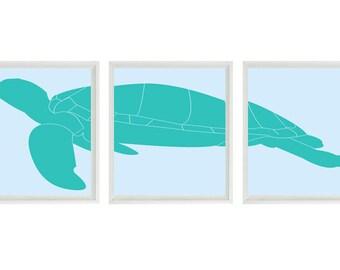 Sea Turtle Art Print Set - Sea Turtle Nursery Beach House Wall Art Children Room Home Decor - Aqua Blue ()  Prints